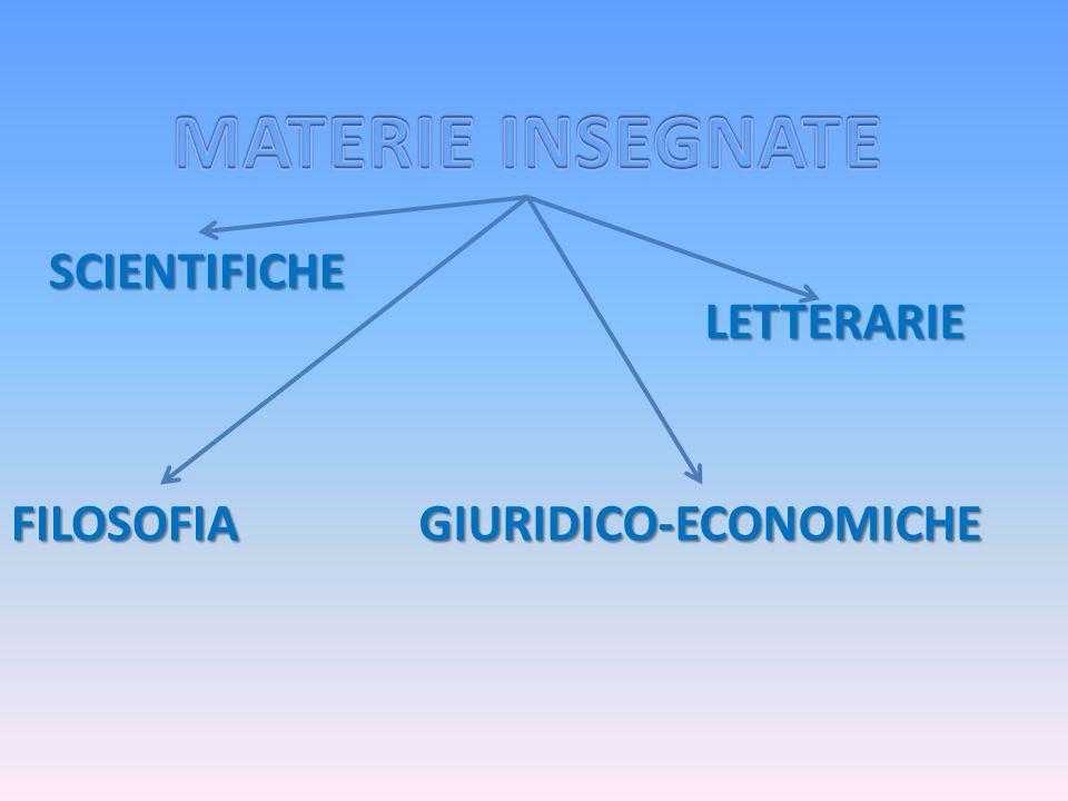 SCIENTIFICHE GIURIDICO-ECONOMICHE LETTERARIE FILOSOFIA