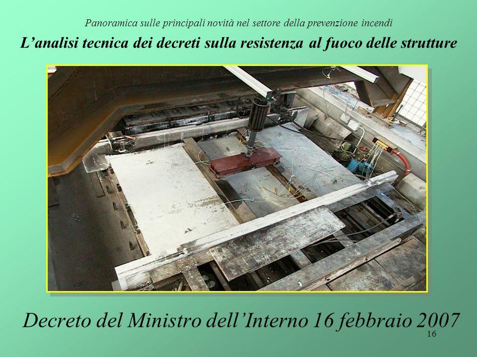 16 Decreto del Ministro dell'Interno 16 febbraio 2007 Panoramica sulle principali novità nel settore della prevenzione incendi L'analisi tecnica dei d
