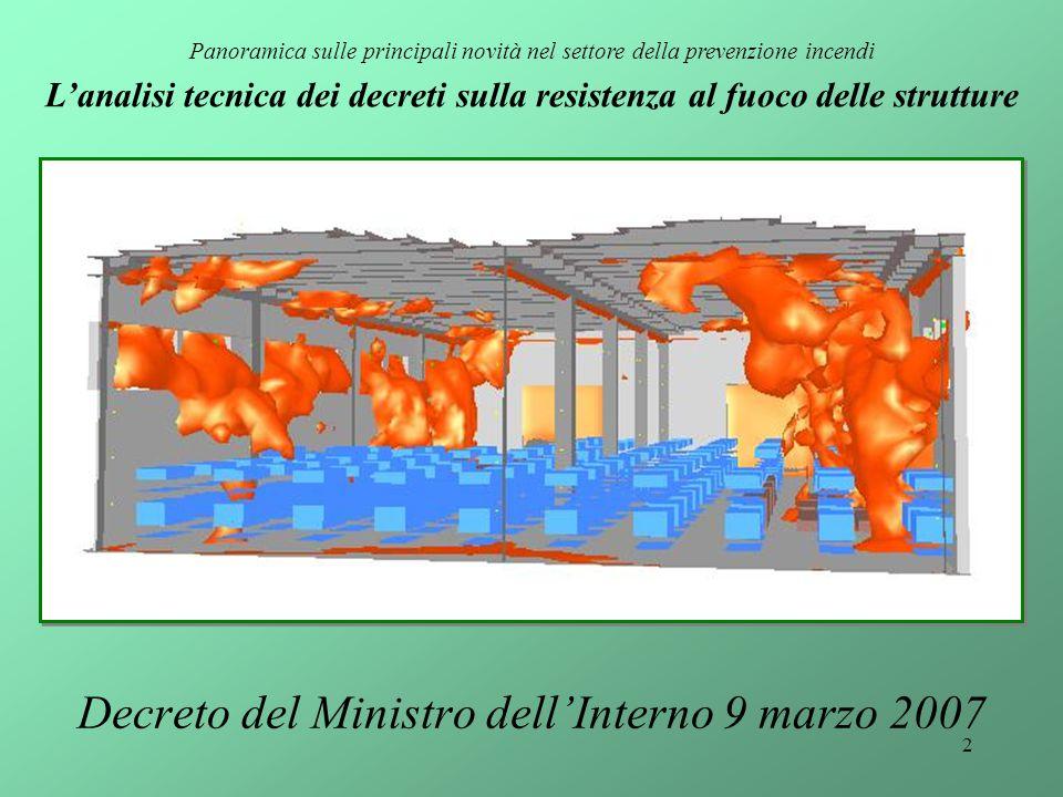 2 Decreto del Ministro dell'Interno 9 marzo 2007 Panoramica sulle principali novità nel settore della prevenzione incendi L'analisi tecnica dei decret