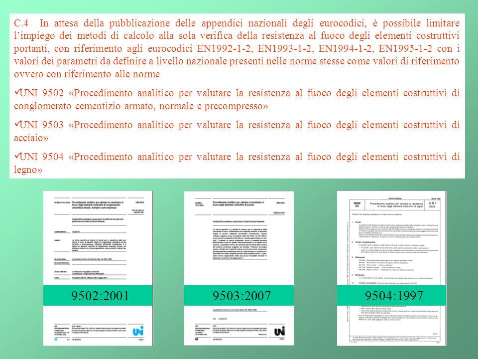 28 C.4 In attesa della pubblicazione delle appendici nazionali degli eurocodici, è possibile limitare l'impiego dei metodi di calcolo alla sola verifi