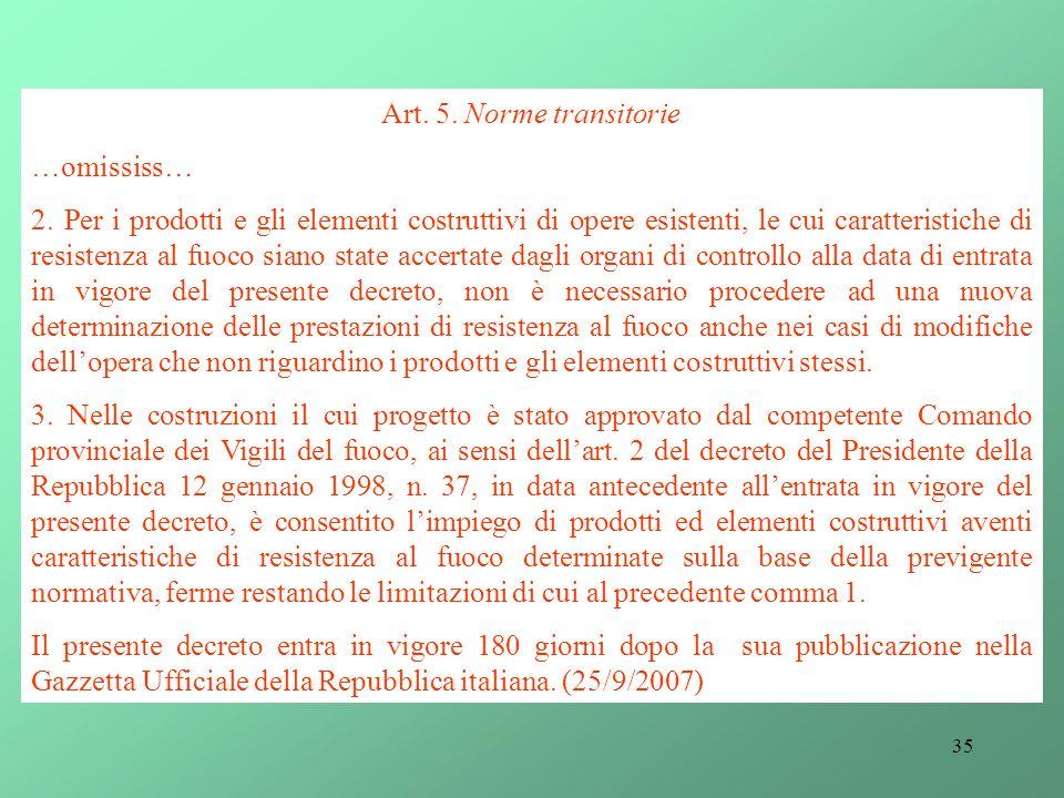 35 Art. 5. Norme transitorie …omississ… 2. Per i prodotti e gli elementi costruttivi di opere esistenti, le cui caratteristiche di resistenza al fuoco