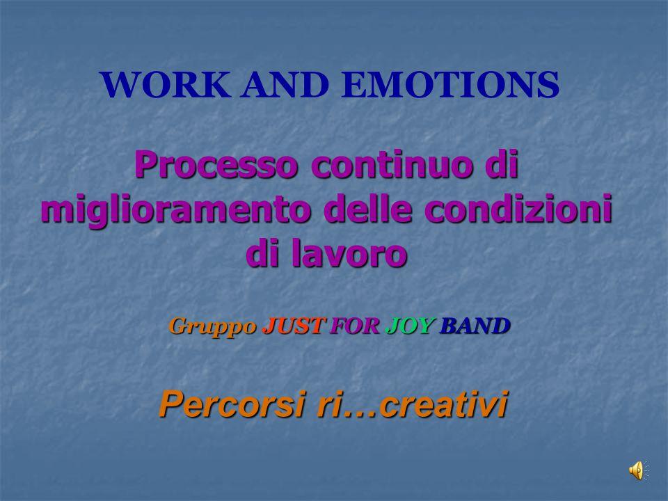 Processo continuo di miglioramento delle condizioni di lavoro Gruppo JUST FOR JOY BAND Percorsi ri…creativi WORK AND EMOTIONS