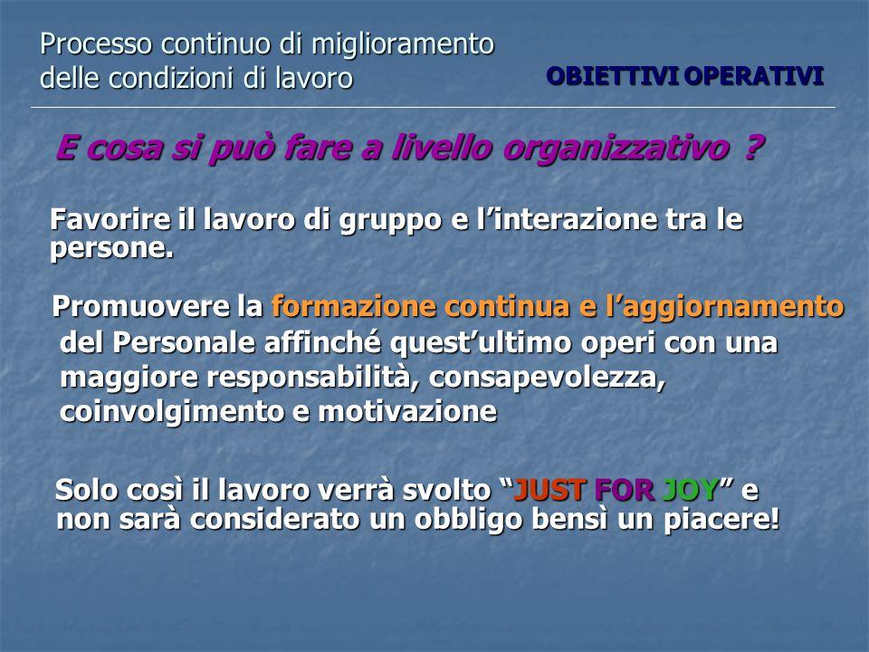 Processo continuo di miglioramento delle condizioni di lavoro E cosa si può fare a livello organizzativo .