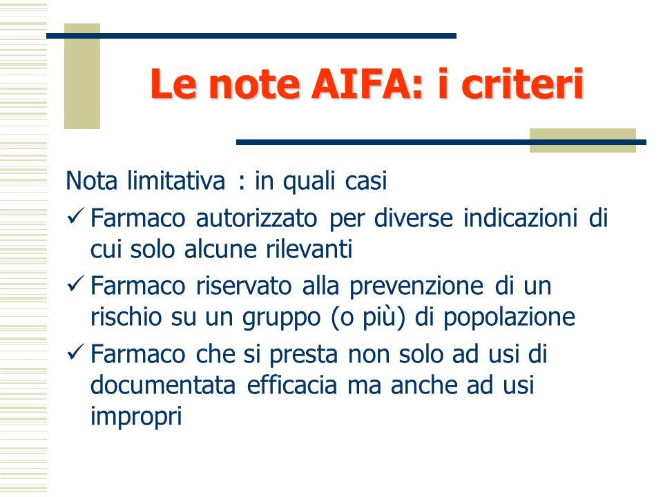 Le note AIFA: i metodi  EBM - Risultati di sperimentazioni cliniche (RCT)  Testo semplice corredato di commenti e riferimenti bibliografici  Proced