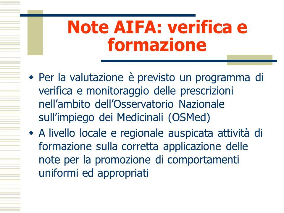 Le note AIFA: i criteri Nota limitativa : in quali casi Farmaco autorizzato per diverse indicazioni di cui solo alcune rilevanti Farmaco riservato all