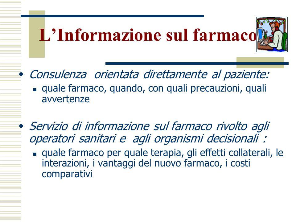 Ruolo del farmacista Favorire il processo decisionale:  L'informazione sui farmaci  La farmacoeconomia Verificare i risultati:  La farmacoepidemiol