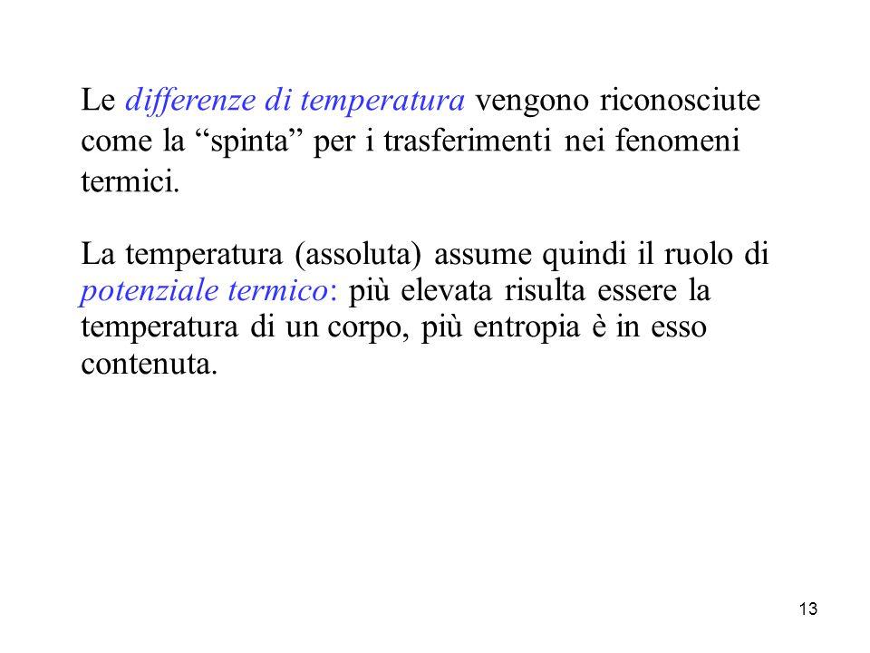 """13 Le differenze di temperatura vengono riconosciute come la """"spinta"""" per i trasferimenti nei fenomeni termici. La temperatura (assoluta) assume quind"""