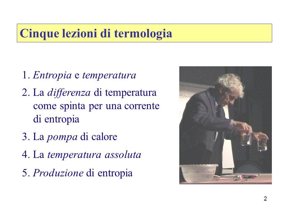 2 1. Entropia e temperatura 2. La differenza di temperatura come spinta per una corrente di entropia 3. La pompa di calore 4. La temperatura assoluta