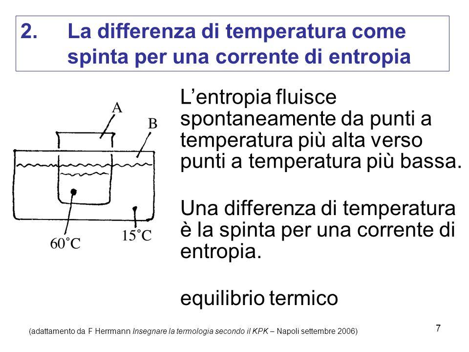 7 2. La differenza di temperatura come spinta per una corrente di entropia L'entropia fluisce spontaneamente da punti a temperatura più alta verso pun