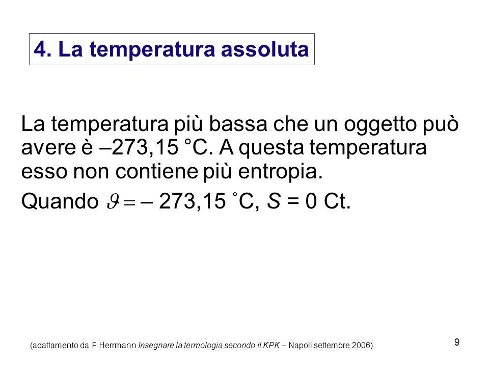9 4. La temperatura assoluta La temperatura più bassa che un oggetto può avere è –273,15 °C. A questa temperatura esso non contiene più entropia. Quan