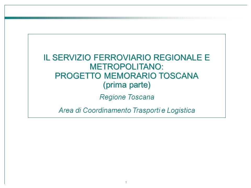 1 IL SERVIZIO FERROVIARIO REGIONALE E METROPOLITANO: PROGETTO MEMORARIO TOSCANA (prima parte) Regione Toscana Area di Coordinamento Trasporti e Logist