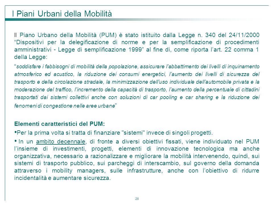 """28 Il Piano Urbano della Mobilità (PUM) è stato istituito dalla Legge n. 340 del 24/11/2000 """"Dispositivi per la delegificazione di norme e per la semp"""