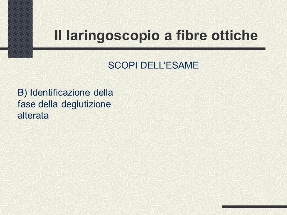 Il laringoscopio a fibre ottiche SCOPI DELL'ESAME B) Identificazione della fase della deglutizione alterata
