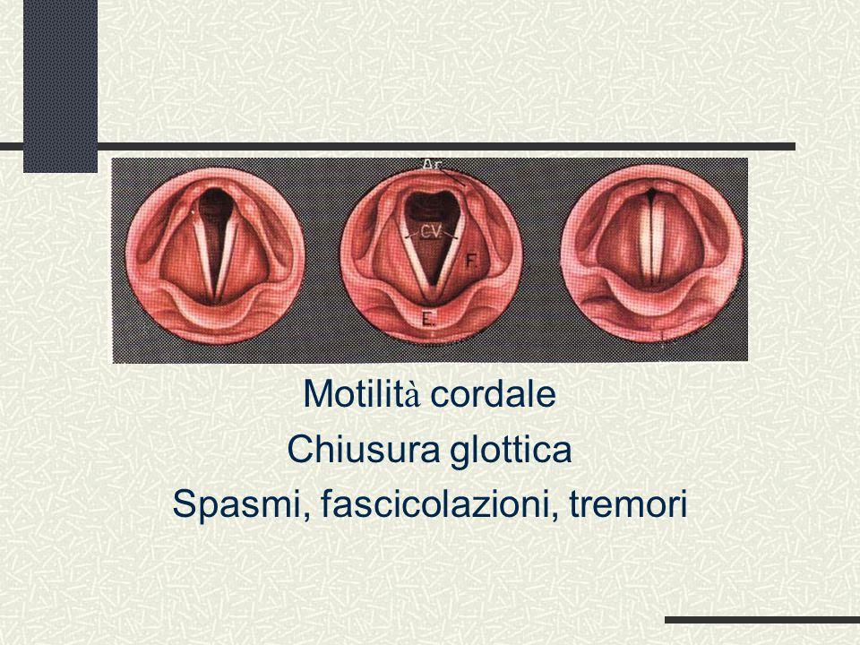 Fibroscopia endoscopica 3) Esame in fonazione Motilit à cordale Chiusura glottica Spasmi, fascicolazioni, tremori
