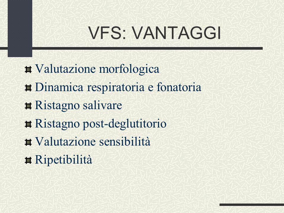 VFS: VANTAGGI Valutazione morfologica Dinamica respiratoria e fonatoria Ristagno salivare Ristagno post-deglutitorio Valutazione sensibilità Ripetibilità