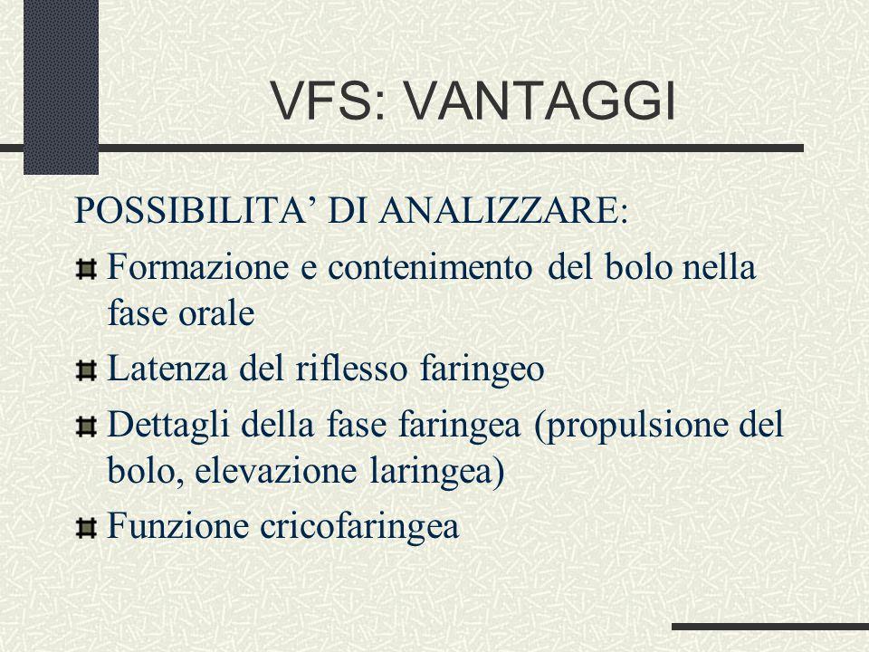 VFS: VANTAGGI POSSIBILITA' DI ANALIZZARE: Formazione e contenimento del bolo nella fase orale Latenza del riflesso faringeo Dettagli della fase faringea (propulsione del bolo, elevazione laringea) Funzione cricofaringea