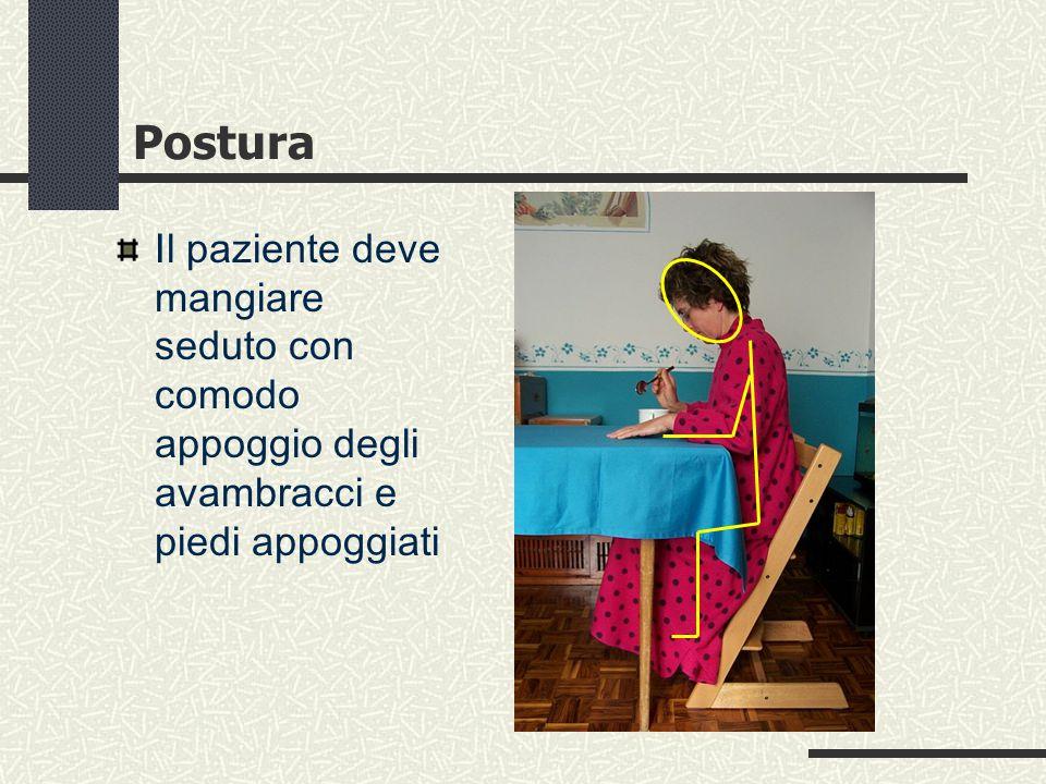 Postura Il paziente deve mangiare seduto con comodo appoggio degli avambracci e piedi appoggiati