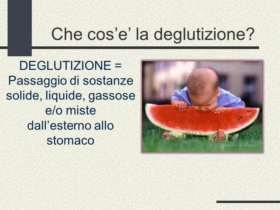 Che cos'e' la deglutizione? DEGLUTIZIONE = Passaggio di sostanze solide, liquide, gassose e/o miste dall'esterno allo stomaco