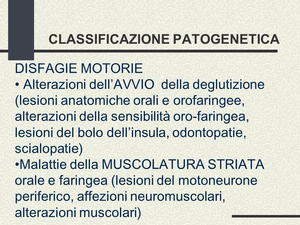 CLASSIFICAZIONE PATOGENETICA DISFAGIE MOTORIE Alterazioni dell'AVVIO della deglutizione (lesioni anatomiche orali e orofaringee, alterazioni della sensibilità oro-faringea, lesioni del bolo dell'insula, odontopatie, scialopatie) Malattie della MUSCOLATURA STRIATA orale e faringea (lesioni del motoneurone periferico, affezioni neuromuscolari, alterazioni muscolari)