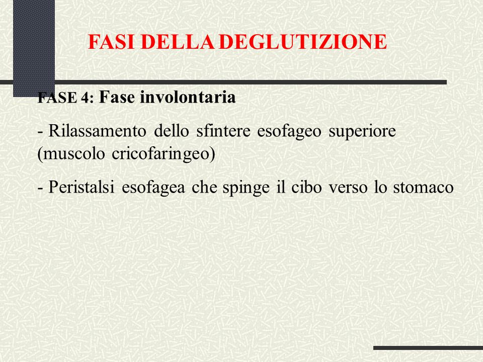 FASI DELLA DEGLUTIZIONE FASE 4: Fase involontaria - Rilassamento dello sfintere esofageo superiore (muscolo cricofaringeo) - Peristalsi esofagea che spinge il cibo verso lo stomaco