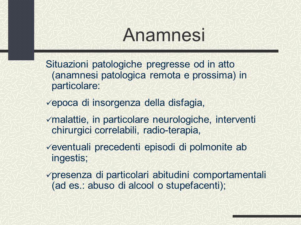 Anamnesi Situazioni patologiche pregresse od in atto (anamnesi patologica remota e prossima) in particolare: epoca di insorgenza della disfagia, malat