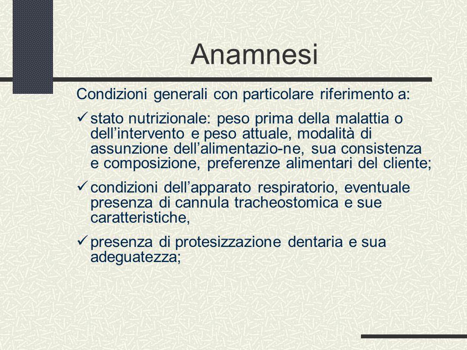 Anamnesi Condizioni generali con particolare riferimento a: stato nutrizionale: peso prima della malattia o dell'intervento e peso attuale, modalità d