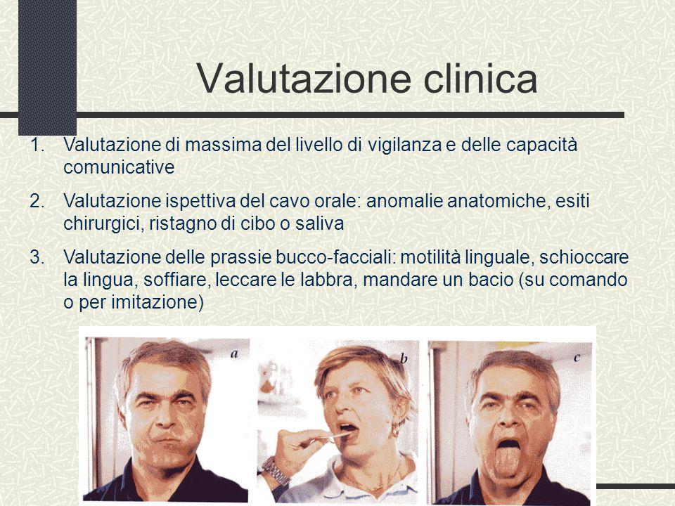 Valutazione clinica 1. Valutazione di massima del livello di vigilanza e delle capacità comunicative 2. Valutazione ispettiva del cavo orale: anomalie