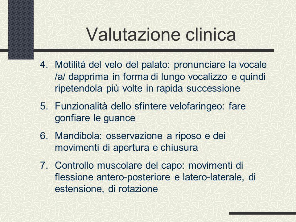 Valutazione clinica 4. Motilità del velo del palato: pronunciare la vocale /a/ dapprima in forma di lungo vocalizzo e quindi ripetendola più volte in