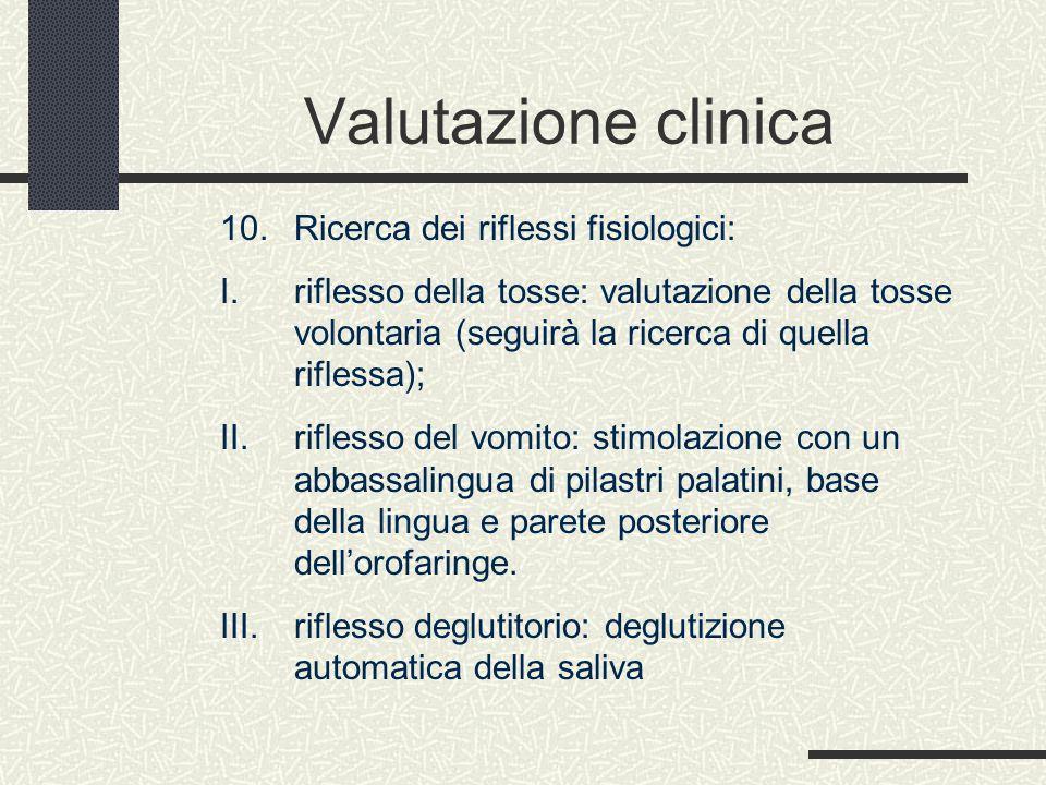 Valutazione clinica 10. Ricerca dei riflessi fisiologici: I. riflesso della tosse: valutazione della tosse volontaria (seguirà la ricerca di quella ri