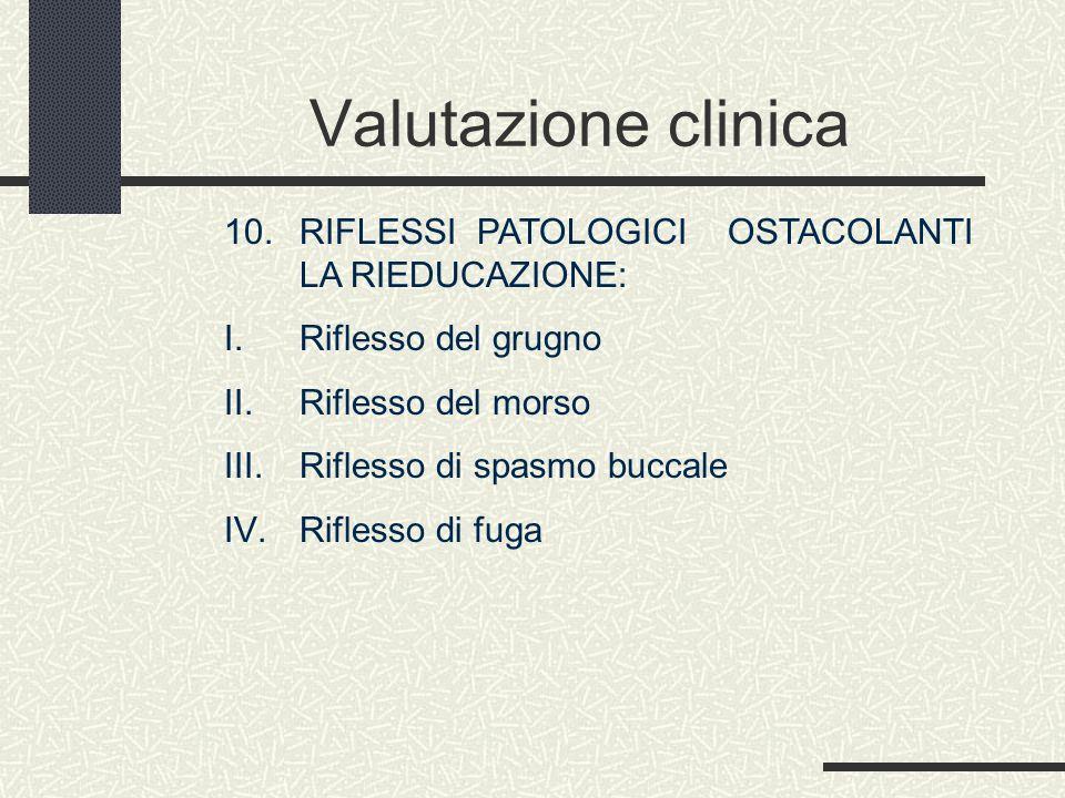 Valutazione clinica 10. RIFLESSI PATOLOGICI OSTACOLANTI LA RIEDUCAZIONE: I. Riflesso del grugno II. Riflesso del morso III. Riflesso di spasmo buccale