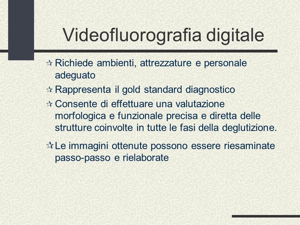 Videofluorografia digitale  Richiede ambienti, attrezzature e personale adeguato  Rappresenta il gold standard diagnostico  Consente di effettuare una valutazione morfologica e funzionale precisa e diretta delle strutture coinvolte in tutte le fasi della deglutizione.