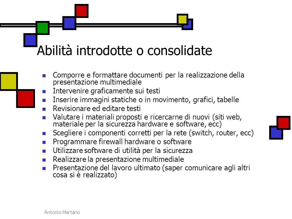 Antonio Martano Abilità introdotte o consolidate Comporre e formattare documenti per la realizzazione della presentazione multimediale Intervenire gra