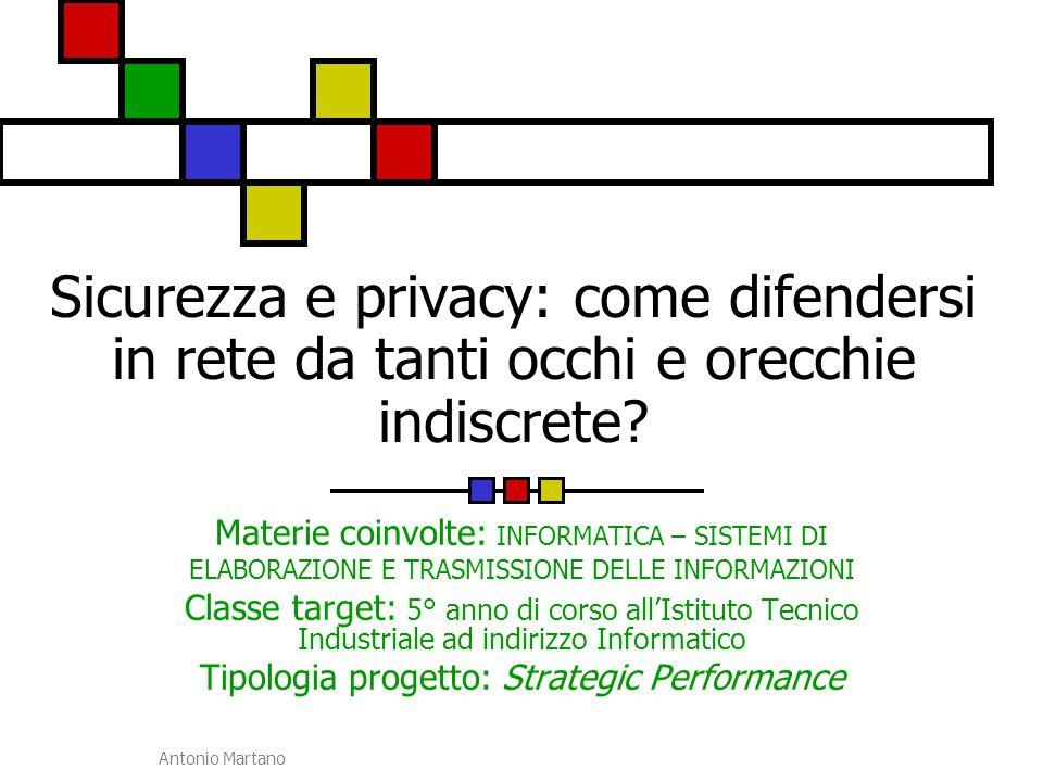 Antonio Martano Definizione del problema La sicurezza e la privacy sono problemi a cui tutti coloro che scambiano informazioni in rete di computer hanno a che fare.