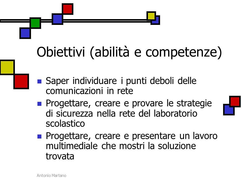 Antonio Martano Obiettivi (abilità e competenze) Saper individuare i punti deboli delle comunicazioni in rete Progettare, creare e provare le strategi