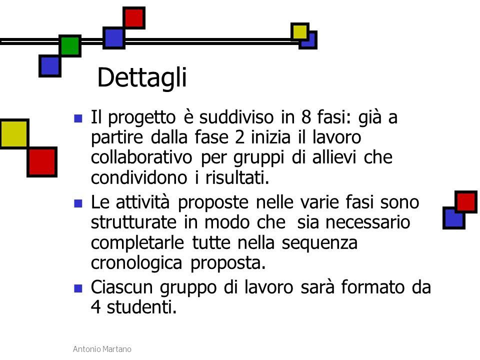 Antonio Martano Dettagli Il progetto è suddiviso in 8 fasi: già a partire dalla fase 2 inizia il lavoro collaborativo per gruppi di allievi che condiv