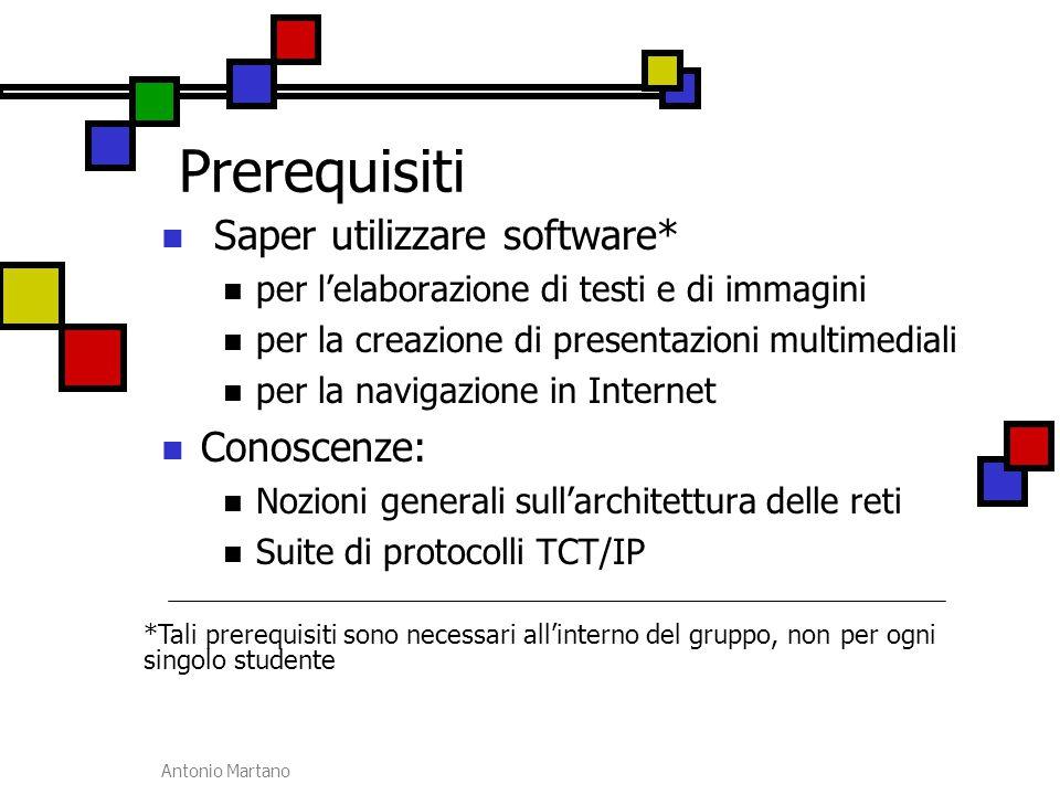 Antonio Martano Prerequisiti Saper utilizzare software* per l'elaborazione di testi e di immagini per la creazione di presentazioni multimediali per l