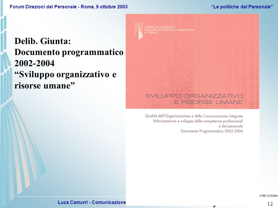 Luca Camurri - Comunicazione, Sviluppo organizzativo e Personale Forum Direzioni del Personale - Roma, 9 ottobre 2003 Le politiche del Personale 12 Delib.