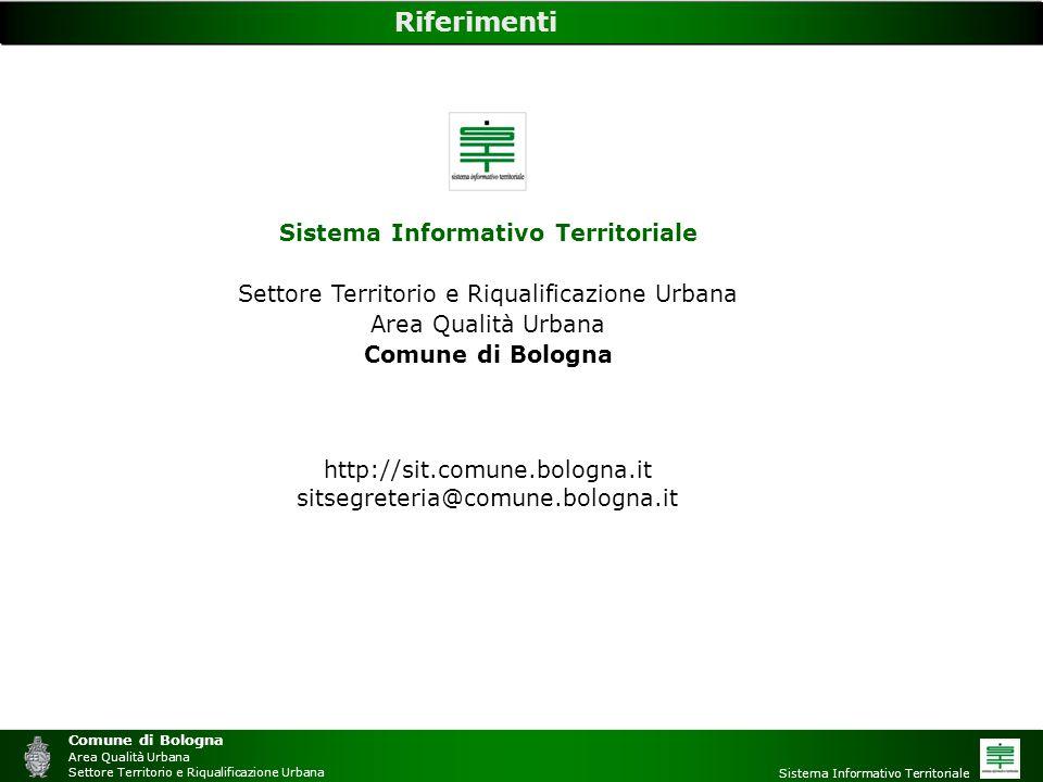 Comune di Bologna Area Qualità Urbana Settore Territorio e Riqualificazione Urbana Sistema Informativo Territoriale Riferimenti Sistema Informativo Te