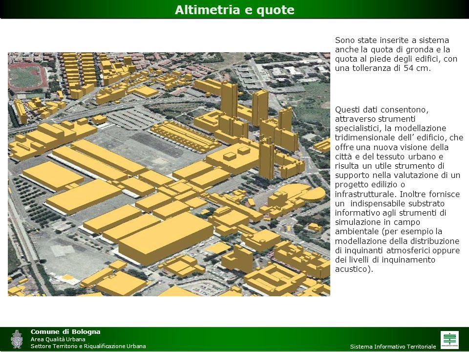 Comune di Bologna Area Qualità Urbana Settore Territorio e Riqualificazione Urbana Sistema Informativo Territoriale Altimetria e quote Sono state inse
