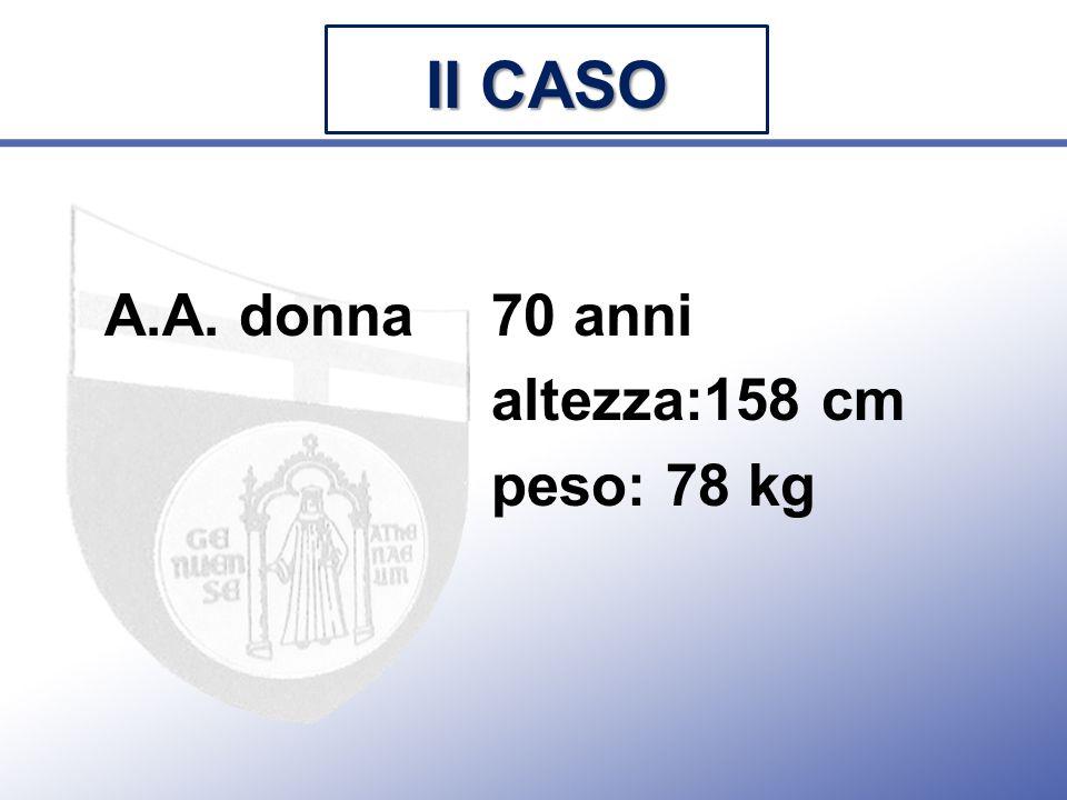 II CASO A.A. donna 70 anni altezza:158 cm peso: 78 kg