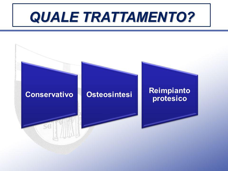 QUALE TRATTAMENTO? ConservativoOsteosintesi Reimpianto protesico
