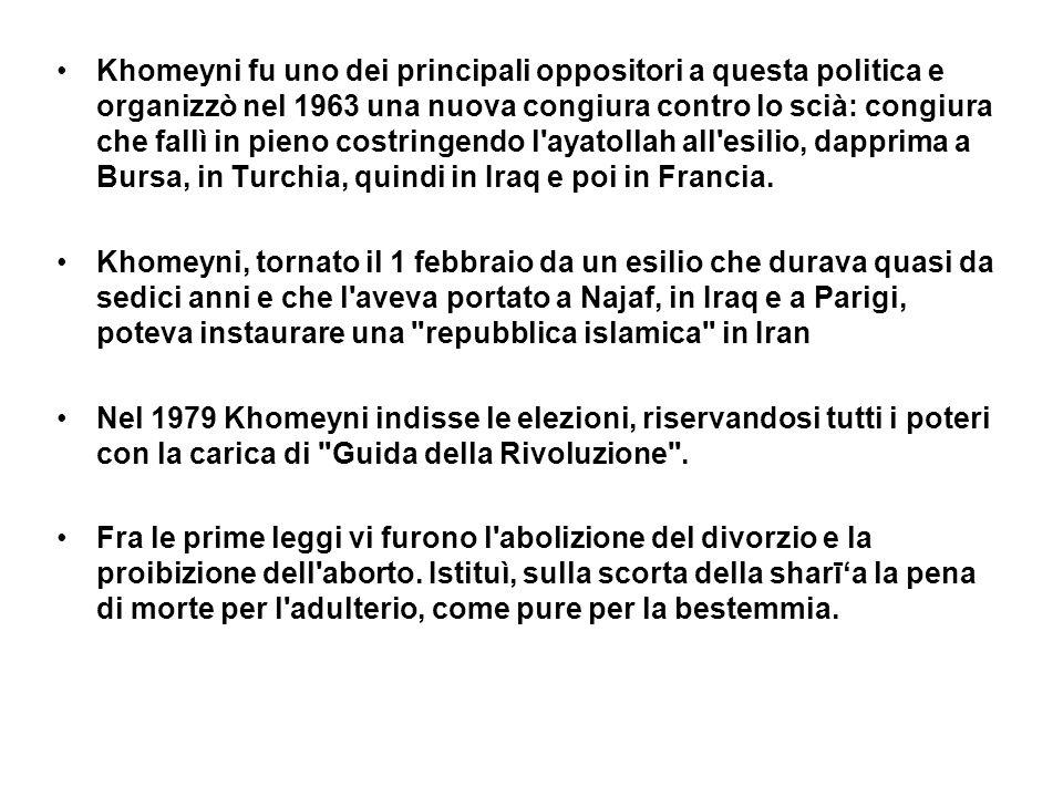 Khomeyni fu uno dei principali oppositori a questa politica e organizzò nel 1963 una nuova congiura contro lo scià: congiura che fallì in pieno costri
