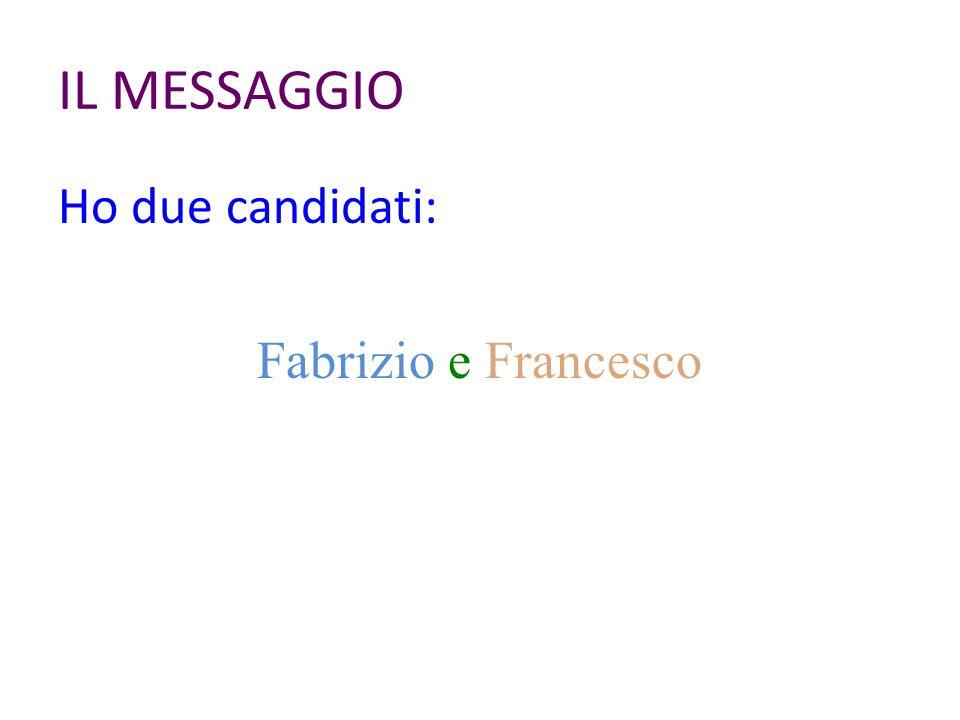 IL MESSAGGIO Ho due candidati: Fabrizio e Francesco