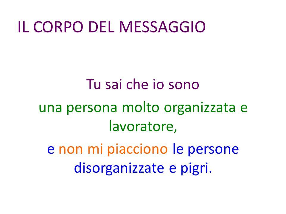 IL CORPO DEL MESSAGGIO Tu sai che io sono una persona molto organizzata e lavoratore, e non mi piacciono le persone disorganizzate e pigri.