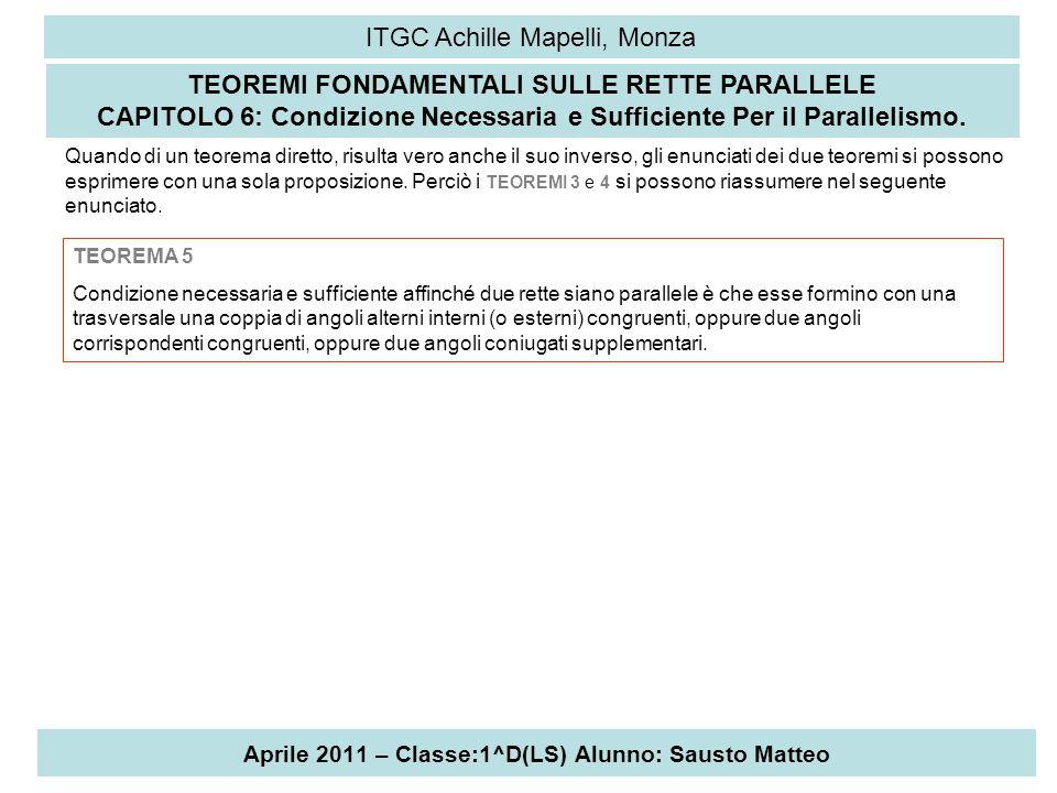 Aprile 2011 – Classe:1^D(LS) Alunno: Sausto Matteo ITGC Achille Mapelli, Monza TEOREMI FONDAMENTALI SULLE RETTE PARALLELE CAPITOLO 6: Condizione Neces