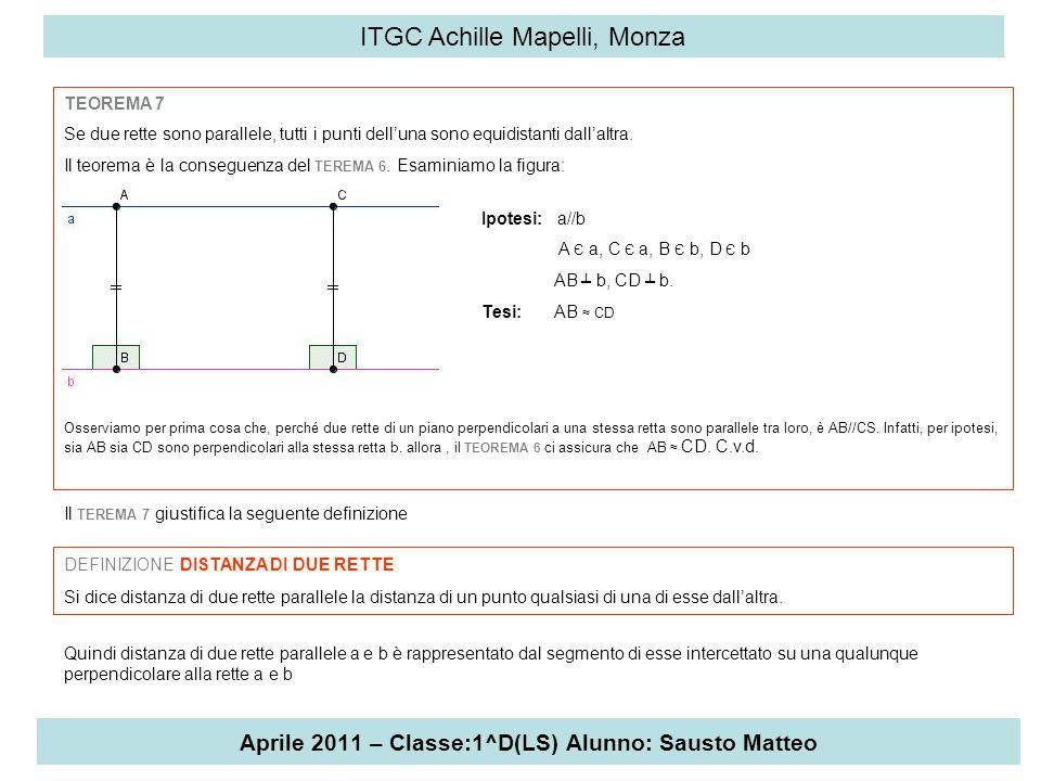 Aprile 2011 – Classe:1^D(LS) Alunno: Sausto Matteo ITGC Achille Mapelli, Monza TEOREMA 7 Se due rette sono parallele, tutti i punti dell'una sono equi