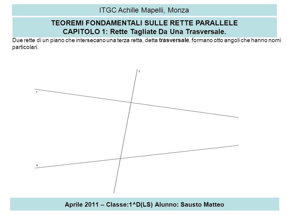 Aprile 2011 – Classe:1^D(LS) Alunno: Sausto Matteo ITGC Achille Mapelli, Monza Per semplicità, indichiamo questi angoli con i numeri da 1 a 8, come in figura 2 e 8 o 3 e 5 sono alterni interni 4 e 6 o 1 e 7 sono alterni estreni 1 e 5;2 e 6; 4 e 8; 3 e 7 sono corrispondenti 2 e 5 o 3 e 8 sono coniugati interni 1 e 6 o 4 e 7 sono conigati esterni