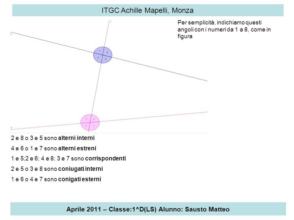 Aprile 2011 – Classe:1^D(LS) Alunno: Sausto Matteo ITGC Achille Mapelli, Monza Possiamo dimostrare che se uno dei seguenti enunciati è vero, lo sono anche gli altri: A gli angoli alterni interni sono congruenti; B gli angoli alterni esterni sono congruenti; C gli angoli corrispondenti sono congruenti; D gli angoli coniugati sono supplementari.