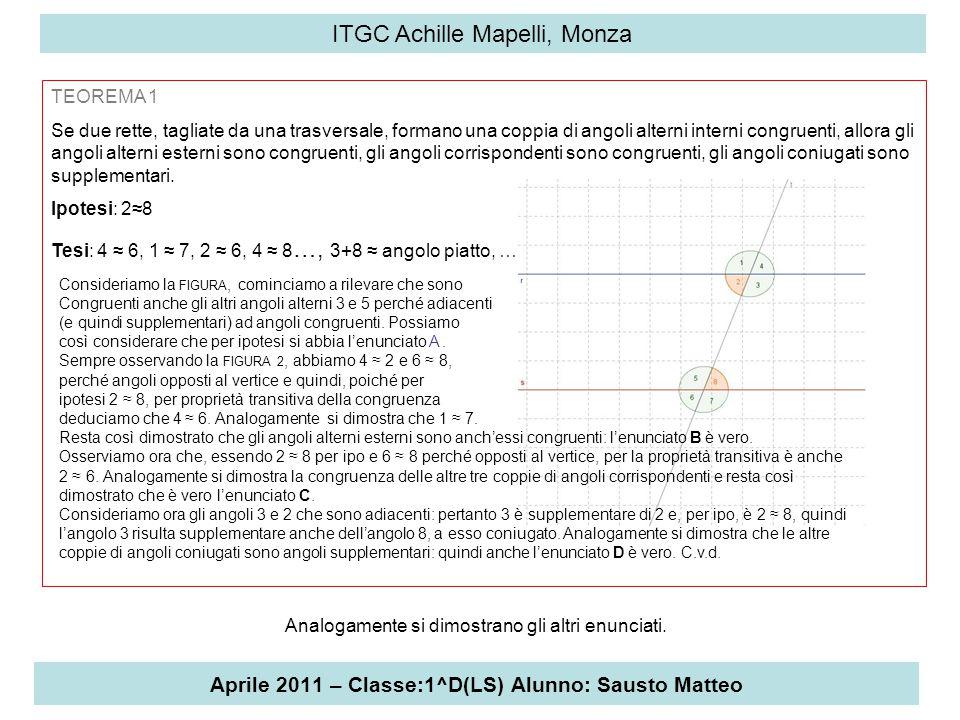 Aprile 2011 – Classe:1^D(LS) Alunno: Sausto Matteo ITGC Achille Mapelli, Monza TEOREMA 1 Se due rette, tagliate da una trasversale, formano una coppia