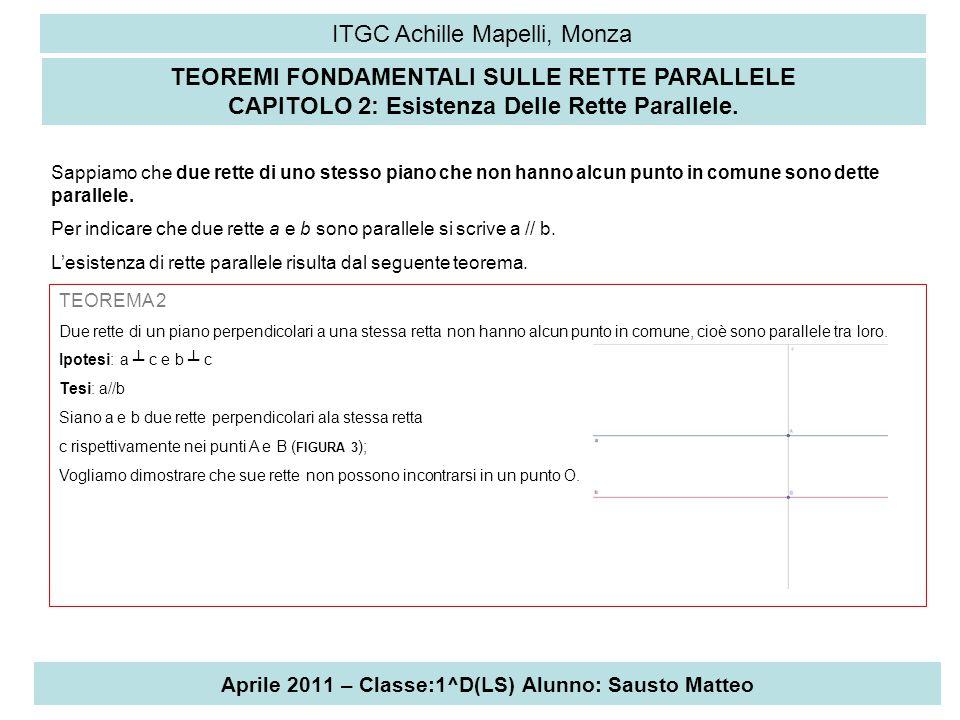 Aprile 2011 – Classe:1^D(LS) Alunno: Sausto Matteo ITGC Achille Mapelli, Monza Dimostreremo per assurdo: supponiamo che le rette non siano parallele, cioè che si incontrino in un punto O (come In figura).